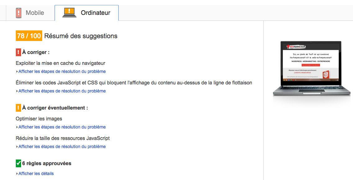Résultat Google Page Speed Ordinateur Bureau